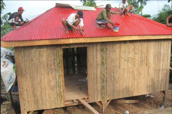 Red-roof shelter homes of the Philippine Red Cross for Typhoon Yolanda victims.
